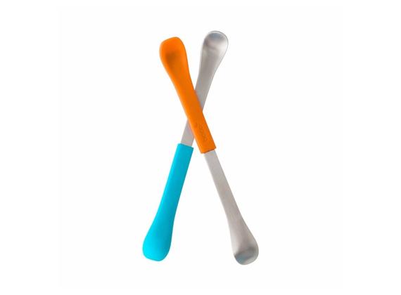 Boon swap baby spoon BPA free - 2x children\'s spoon 2-in-1 made of silicone and steel orange / blue