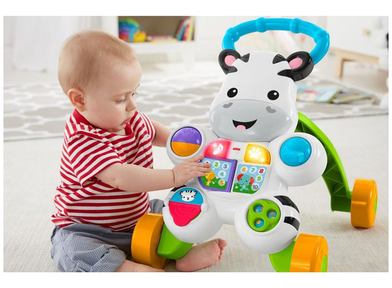 Fisher-Price - Zebra baby walker with music and lights teaches letters and numbers - German-speaking