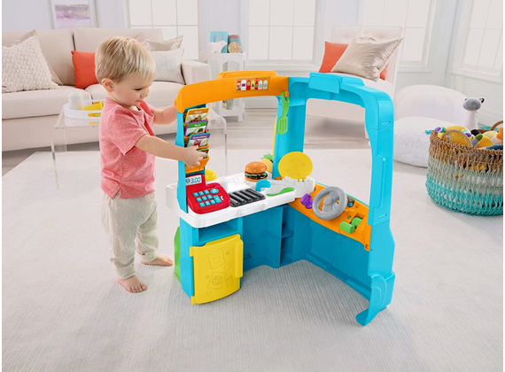 Fisher-Price – Learning Fun - Food Truck in German / Spanish / French – with Kitchen and Educational Games
