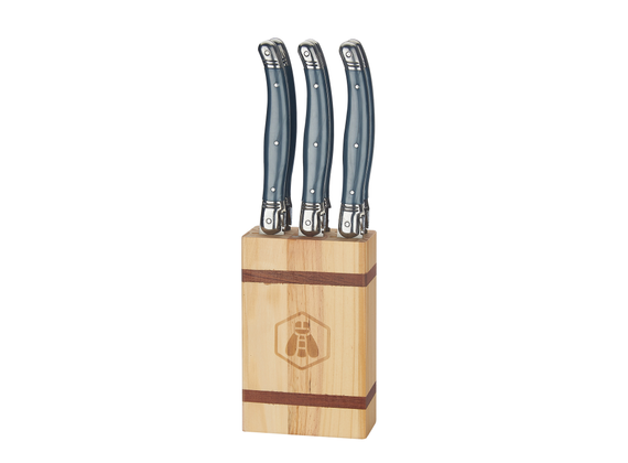 Laguiol block with 6 table knives - Pine wood