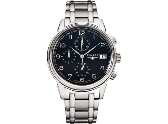 Elysee Gents Watch Vintage Chrono Polished Stainless Steel Quartz