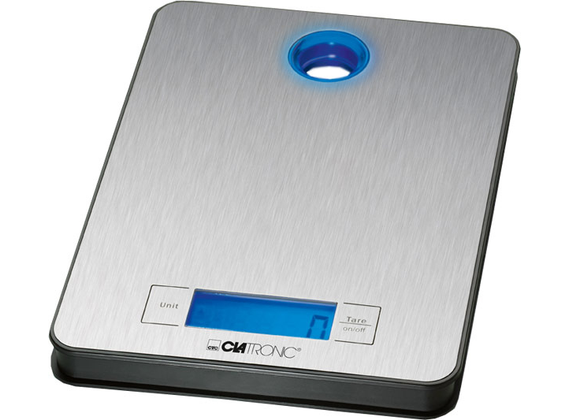 Clatronic Kitchen Scales KW 3412, stainless steel weighing surface with LCD display