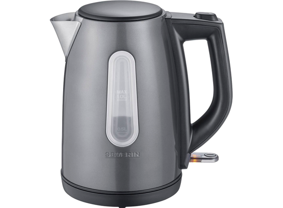 Severin kettle, metallic gray / black