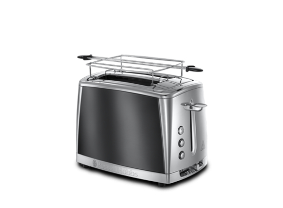 Russell Hobbs Toaster Luna Gray, 2 extra wide toast slots, incl. Buns attachment