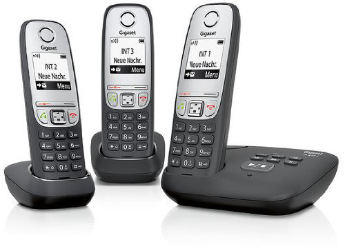 Gigaset A415A Trio - cordless phone with AB + 2 additional handsets L36852-H2525-C111
