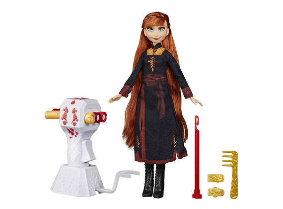 Disney Frozen 2 - ANNA -  Braiding Fun Doll with Extra Long Red Hair - Playset