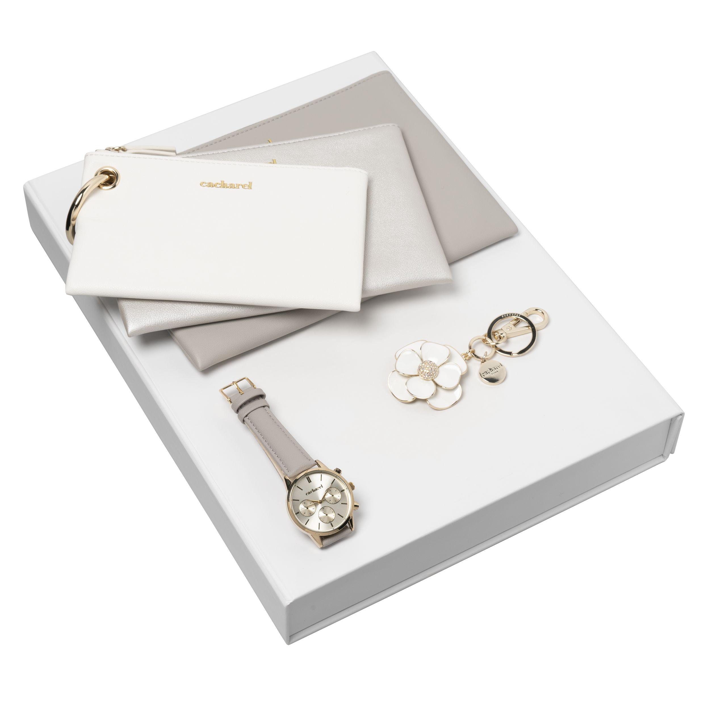 Cacharel Set Madeleine (keyring, wristwatch & culture bag)