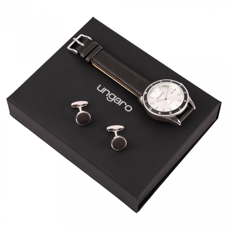 Ungaro Set Leone in black (wristwatch & cufflinks)
