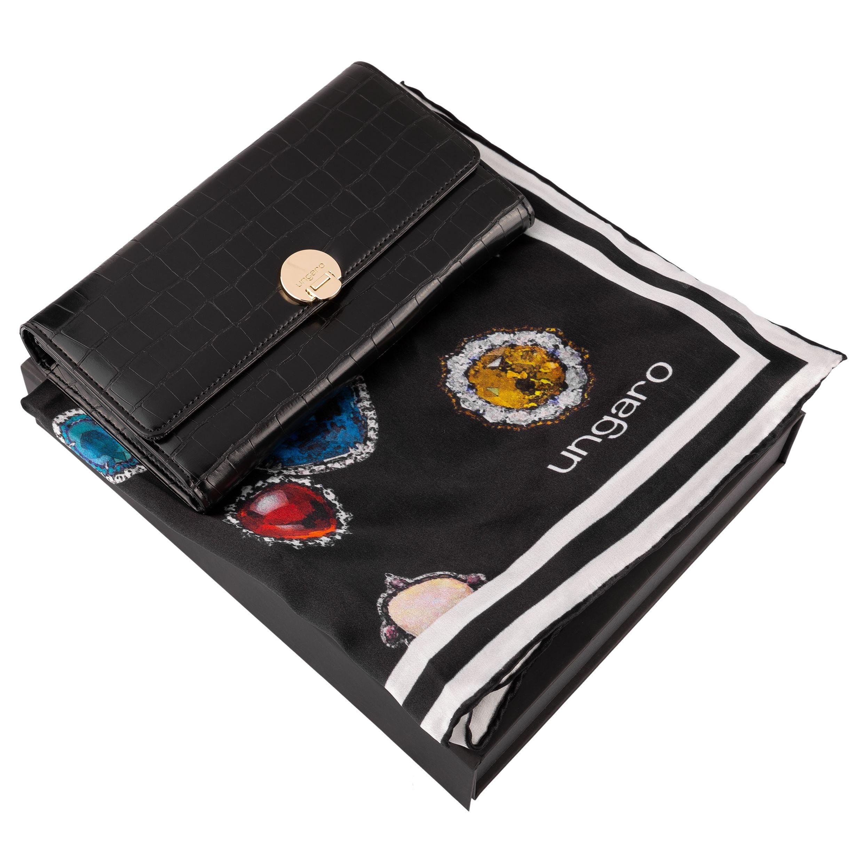 Ungaro Set Black (Wallet & silk scarf )
