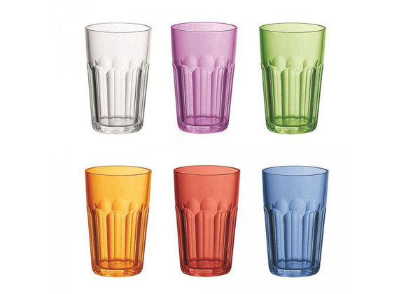 Guzzini drinking glasses acrylic cut set of 6 colorful