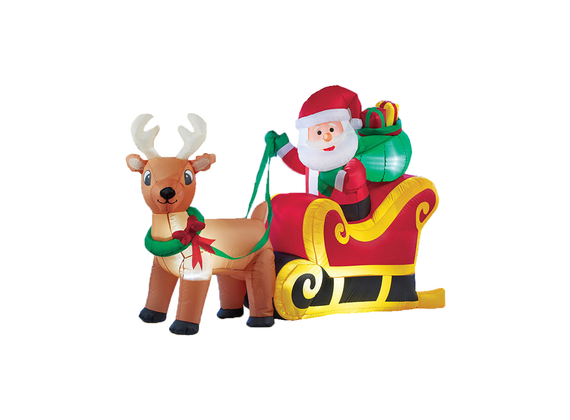 Inflatable, illuminated Santa Claus with a length of 1.8 m
