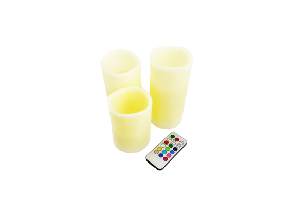 LED wax candles with color change - 3 pieces - 4 colored