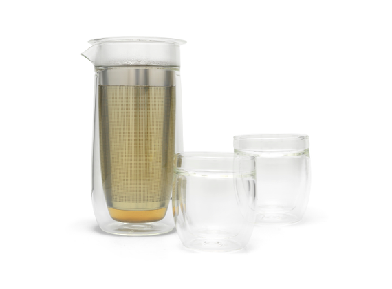 Tea set Siena with stainless steel filter and 2 glasses