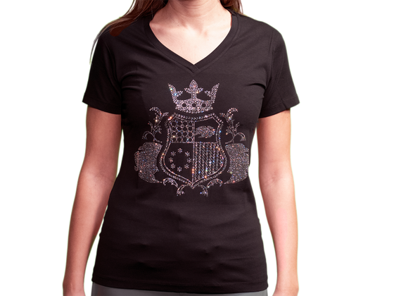 EliteClub Women`s T-Shirt in black with clear rhinestones