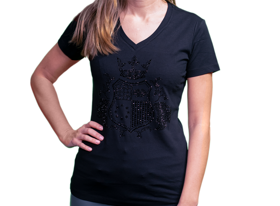 EliteClub Women`s T-Shirt in black with black rhinestones