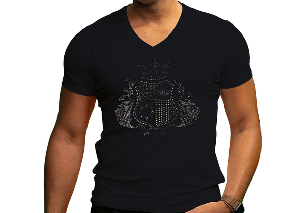 EliteClub Men`s T-Shirt in black with clear rhinestones