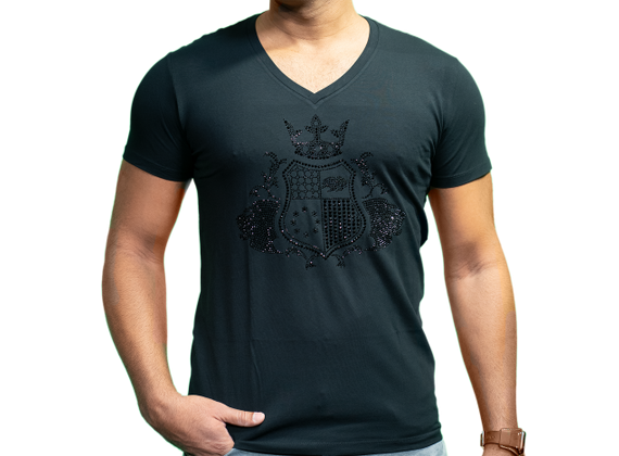 EliteClub Men`s T-Shirt in black with black rhinestones