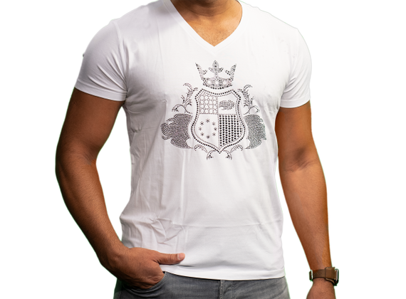 EliteClub Men`s T-Shirt in white with clear rhinestones