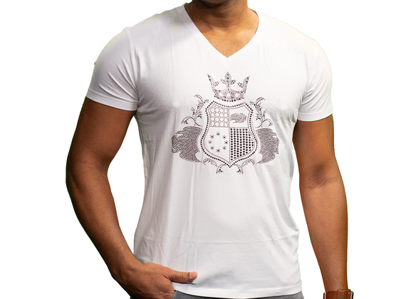 EliteClub Men`s T-Shirt in white with metal pattern